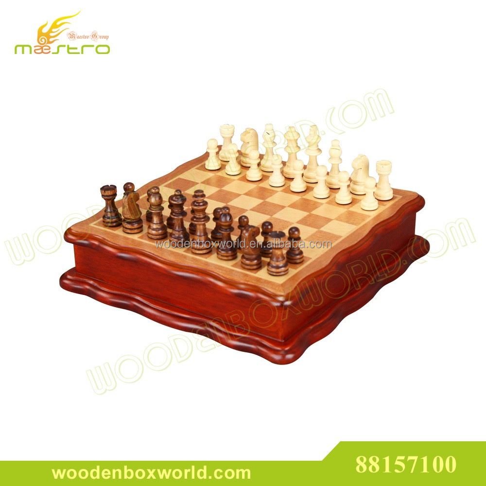 Chess with Inlaid Wood Chess Board Box