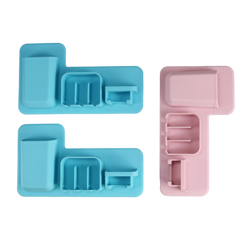 Custom Bathroom Silicone Rubber Toiletry Organizer Waterproof Toothbrush Holder Wall Mount
