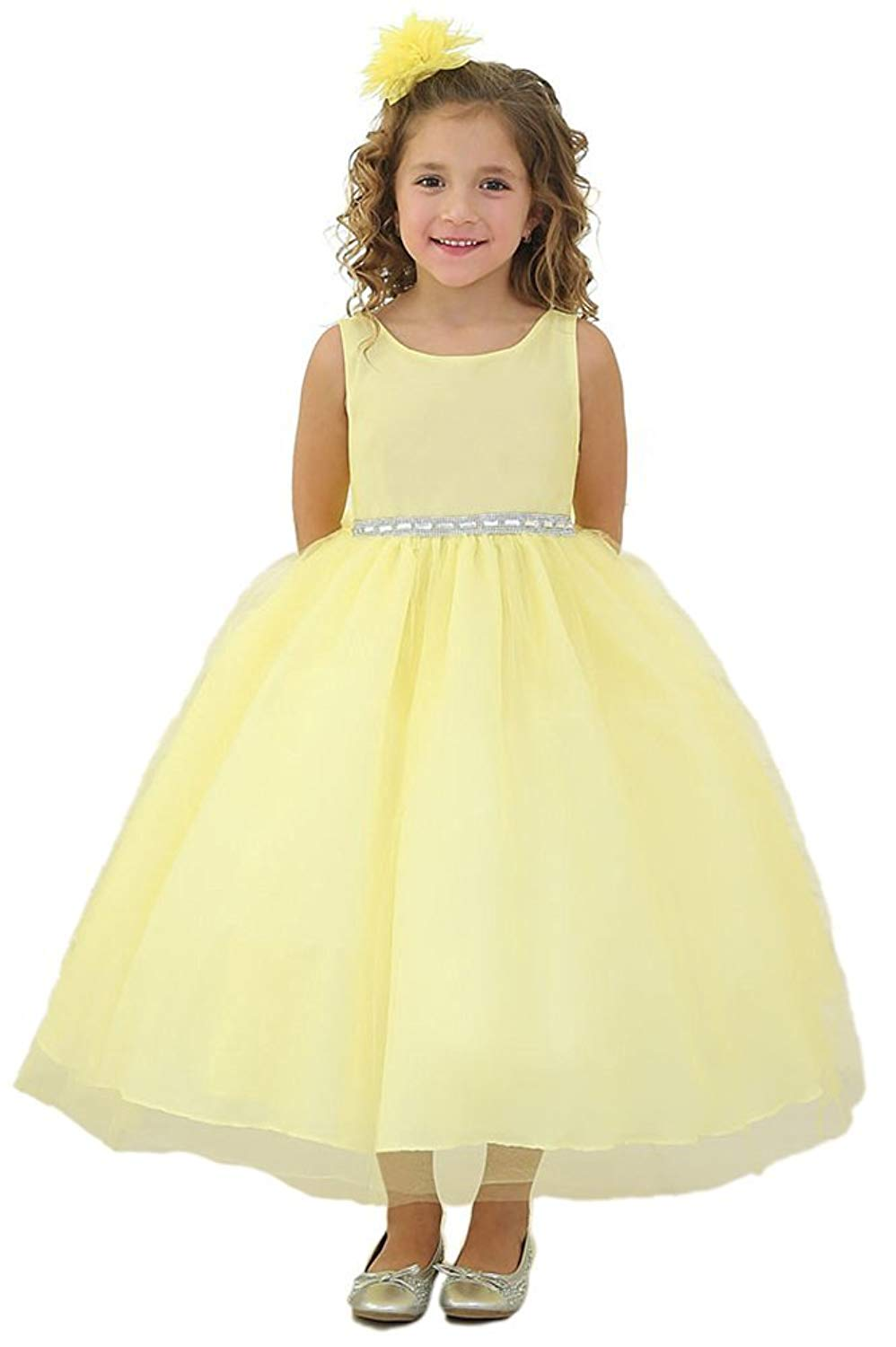 iGirlDress Little Girls Rhinestone Waist Band Tulle Flower Girl Dress