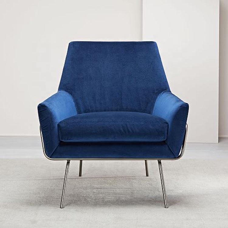 Accent Chair Sofa Home Armchair Modern Single Seater Blue Velvet Wood Frame Bedroom Furniture