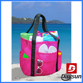 Nylon Mesh Family Beach Towel Bag,Saltwater Canvas Beach Tote Bag ...