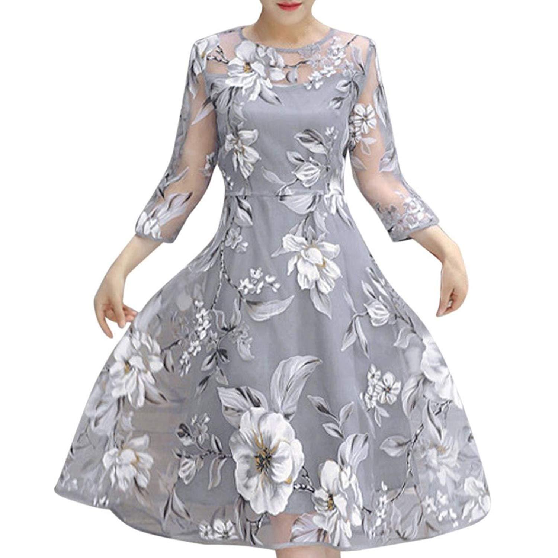 c00c8839024 Perman Women Summer Organza A-Line Floral Long Sleeve Party Cocktail Maxi  Long Dress