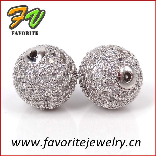 10mm CZ pave brass beads jewlery beads for bracelet