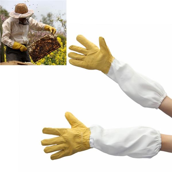 Пара защитный пчеловодства перчатки козьей пчеловодство вентилируемый длинные рукава пчеловодство инструменты пчеловода предотвратить инструменты