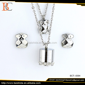 China manufacturer supplier crystal bear shape 316 stainless steel charms jewelry set for party