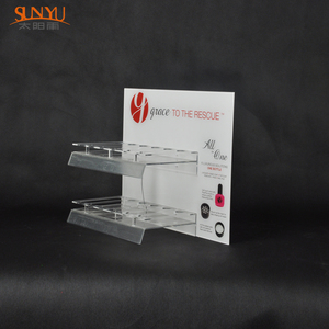 Clear Acrylic Nail Polish Display Stand With Sign Holder