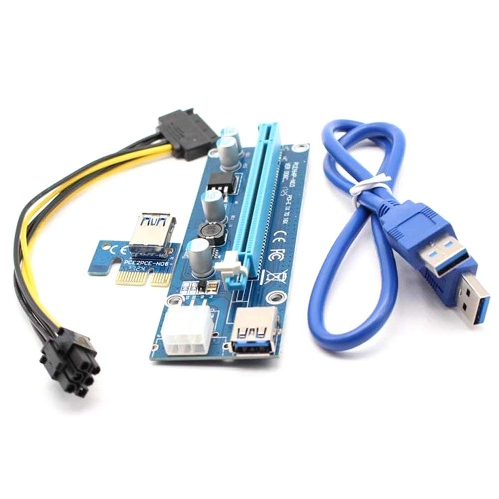 PCI-E Riser Cable, ZIKO 1-Pack PCIE Riser Adapter VER 006C PCI-E Riser 6 Pin 1x to 16x Powered Riser Adapter 60cm USB 3.0 Extension Cable for Bitcoin\Litecoin\ETH coin