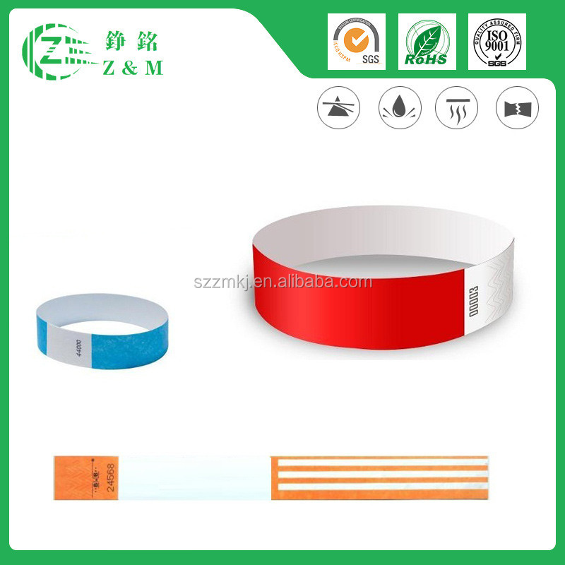 New Technique Waterproof Paper Tyvek Wristbands Bracelets Bands