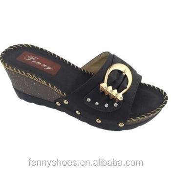 78961c8aa China cheap comfortable PU ladies low wedge sandals 6.5cm slippers with  black