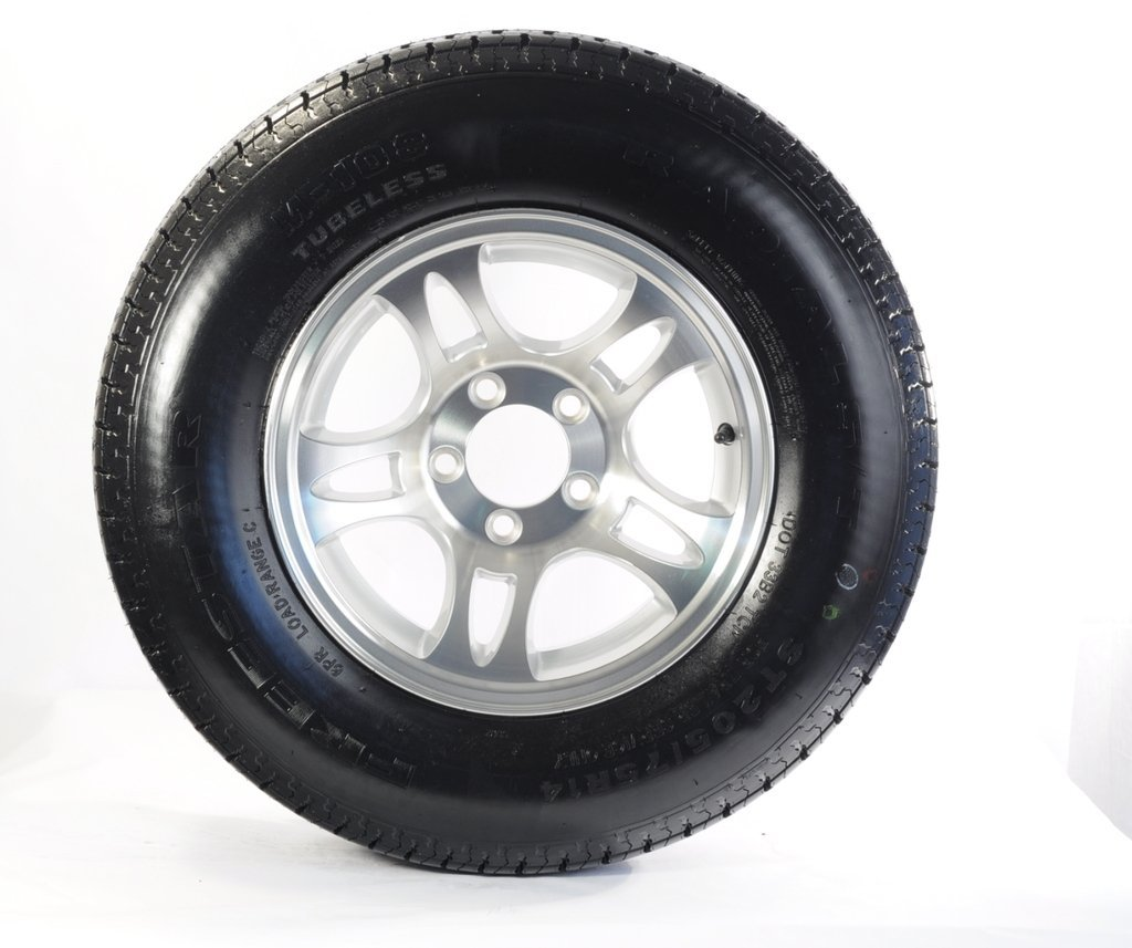 "eCustomRim Trailer Tire + Rim ST205/75D15 F78-15 205/75-15 15"" 5 Lug Hole Wheel Split Spoke"