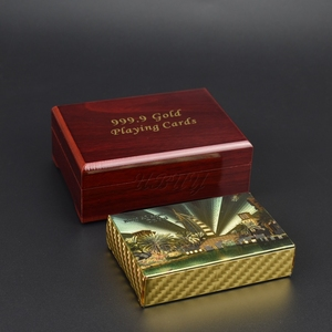 High Quality Dubai Burj Al Arab Gold Playing Cards With Wooden Box