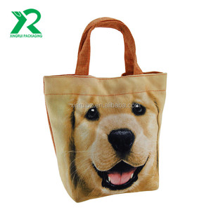 Custom Cute Pet Dog Printing Reusable Grocery Shopping Bag Small Jute Cotton Lunch Tote Bag