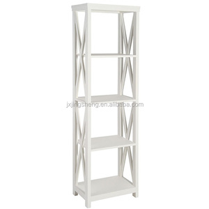 Flat Pack Furniture White Wall Corner 4 Shelf Unit Reclaimed Wooden Bookcase