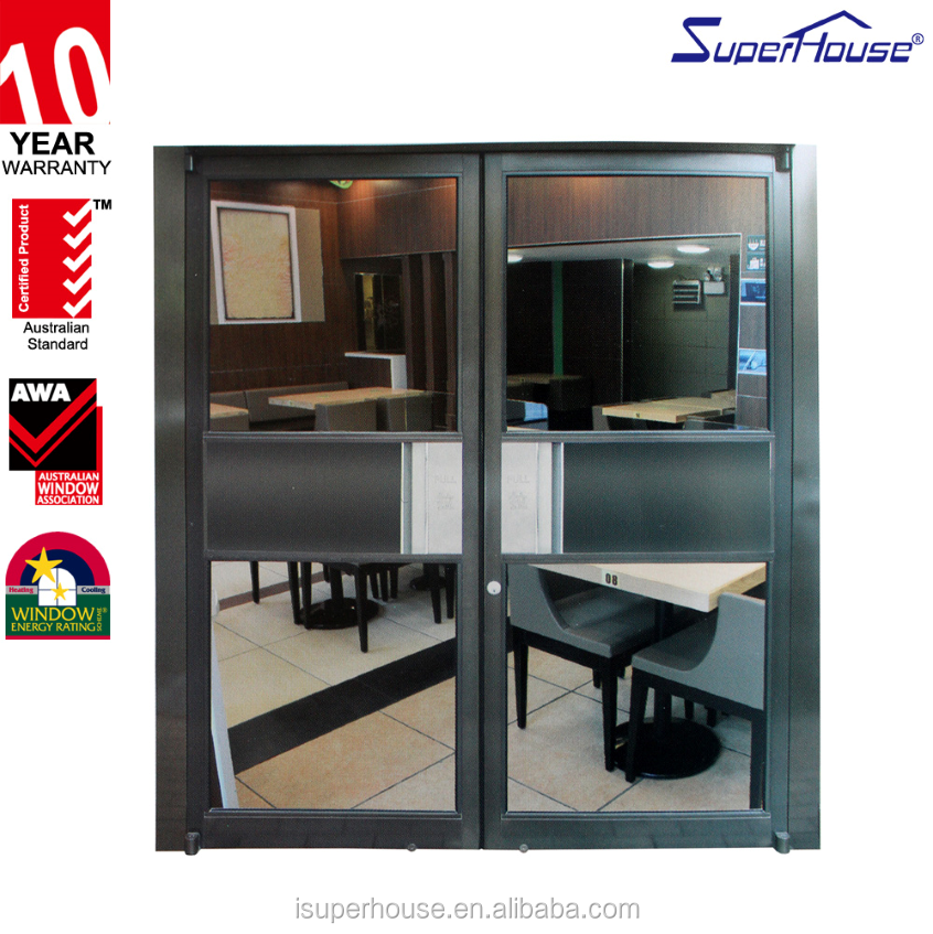 Aluminium French Doors AS2008&NZ Standard standard Heat Insulation Casement Door Powder Coated Front Door For KFC