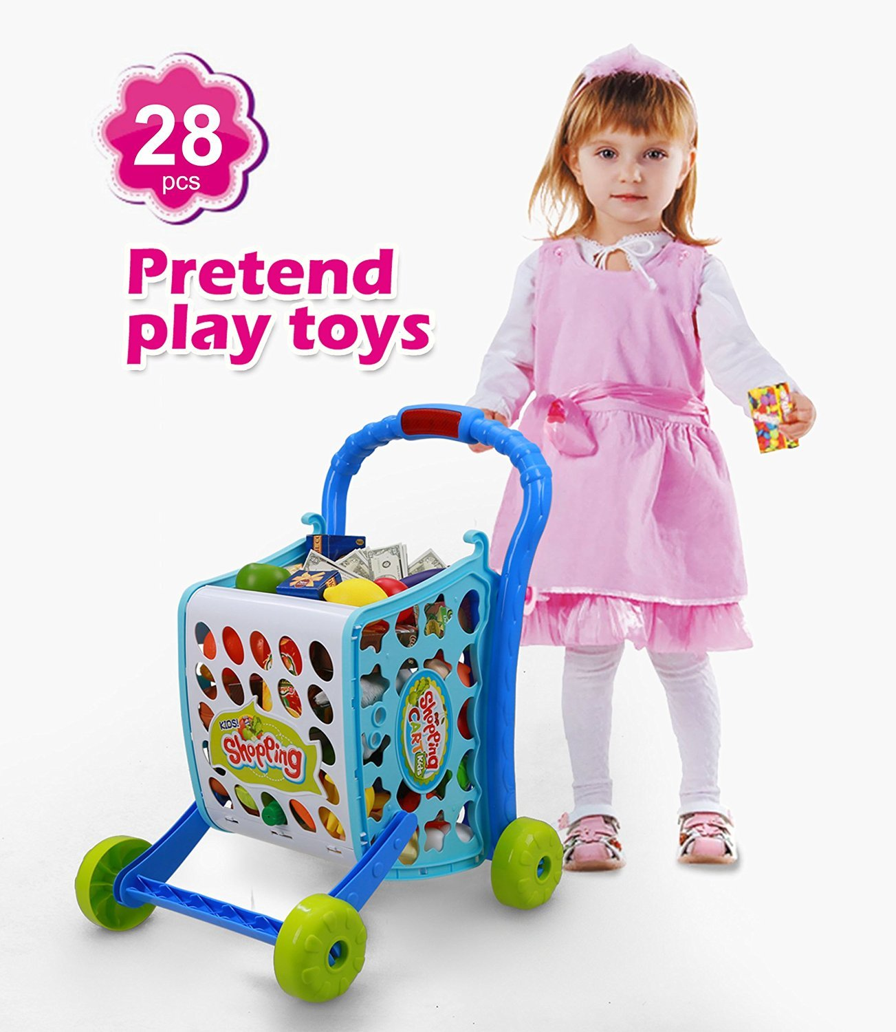 DEERC Blue Shopping Cart Pretend Play Toy With 28pcs Fruits Drink Money , Lights and Induced Music,DIY Variable Model