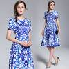 Spot QP3056068# spring and summer new short-sleeved blue-and-white porcelain print ladies slim dress