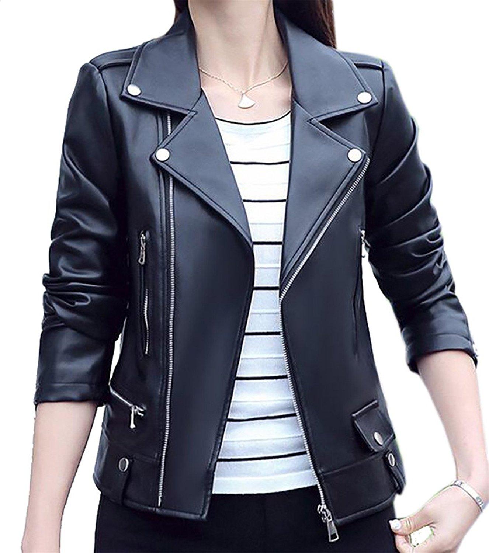 KLJR-Women Vintage Slim Fit Faux Leather Classic Moto Biker Jacket