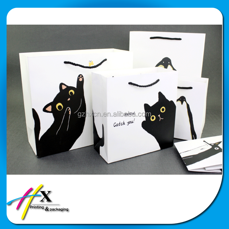 Cute Cartoon Cat Pattern Printing Custom Gift Packaging Bag