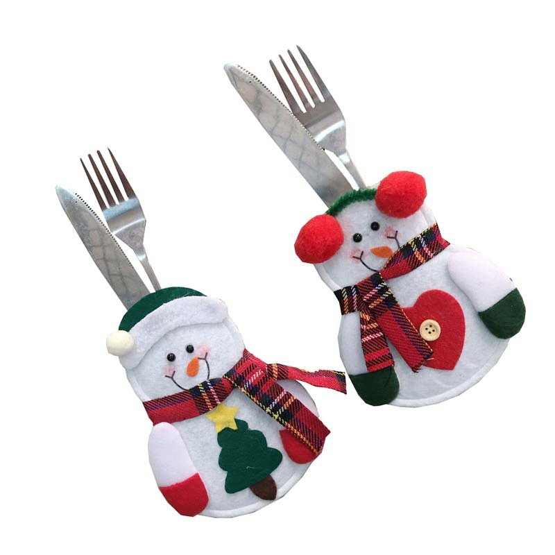 Christmas Cutlery Set Decorations For Party Table Cutlery Bags Snowman Santa Claus Tableware Holder Pocket Home Decoration