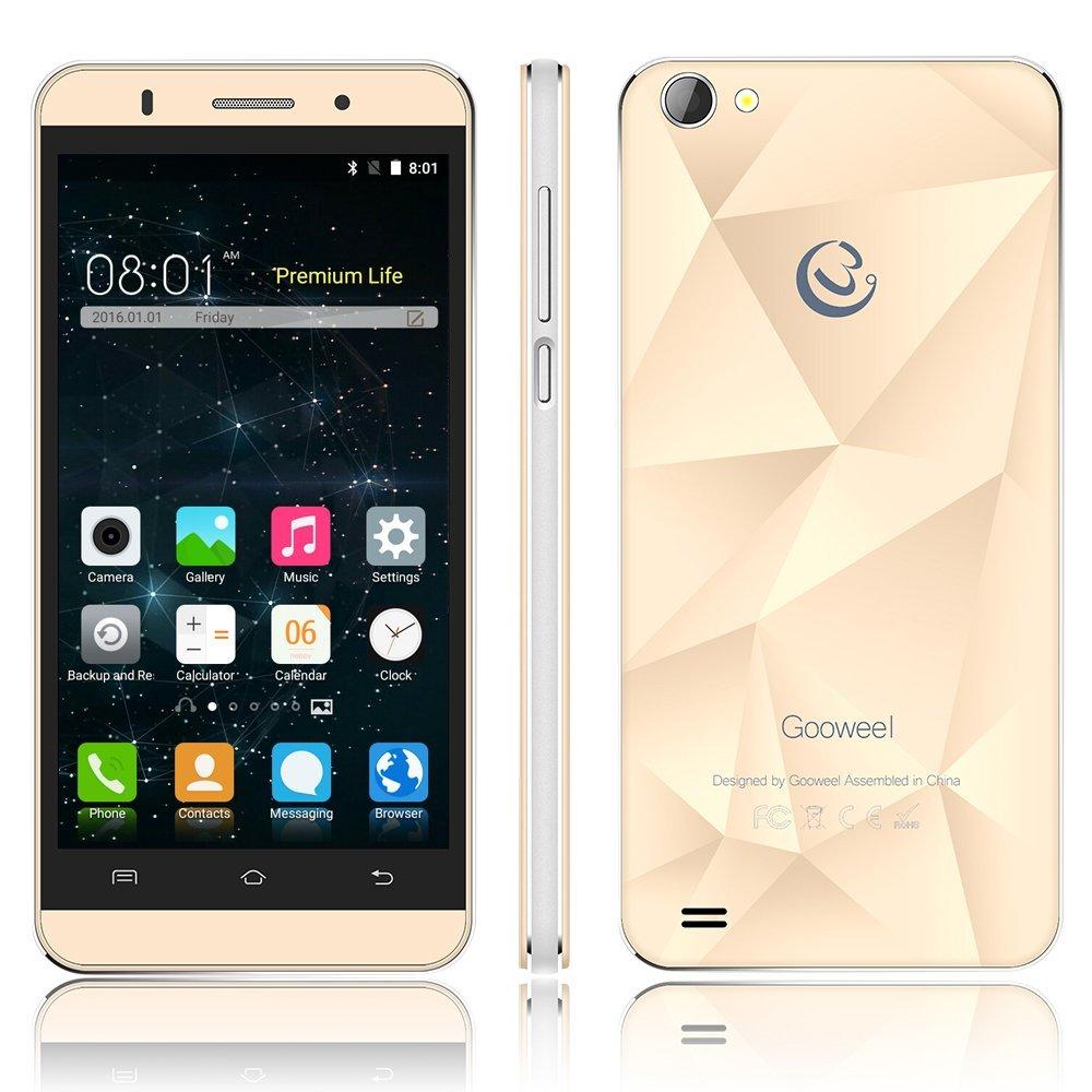 Gooweel M5 Pro smartphone MTK6580 quad core 5 inch IPS mobile phone 1GB RAM 8GB ROM 5MP+8MP camera GPS 3G cell phone (Gold)