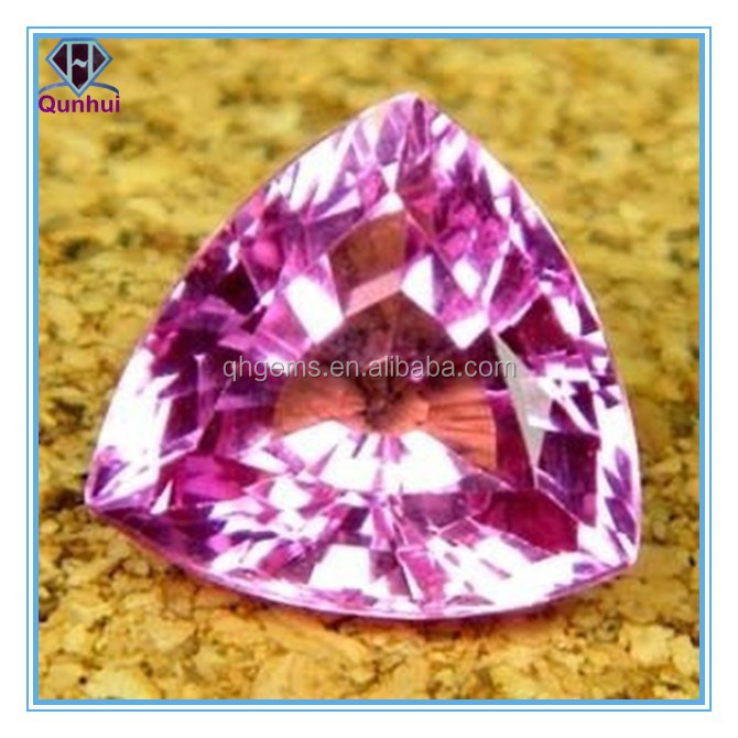 dazzling pink triangle shaped cubic zirconia