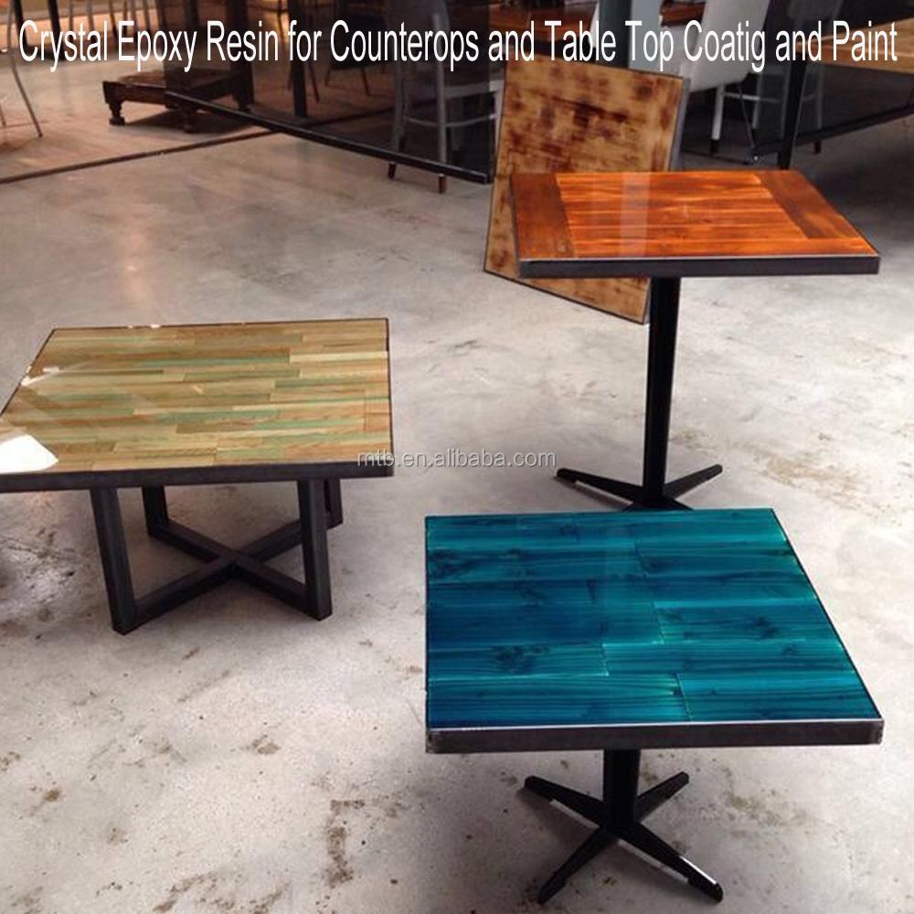 Mesa de madera y muebles de resina epoxi de cristal for Mesas de jardin de resina