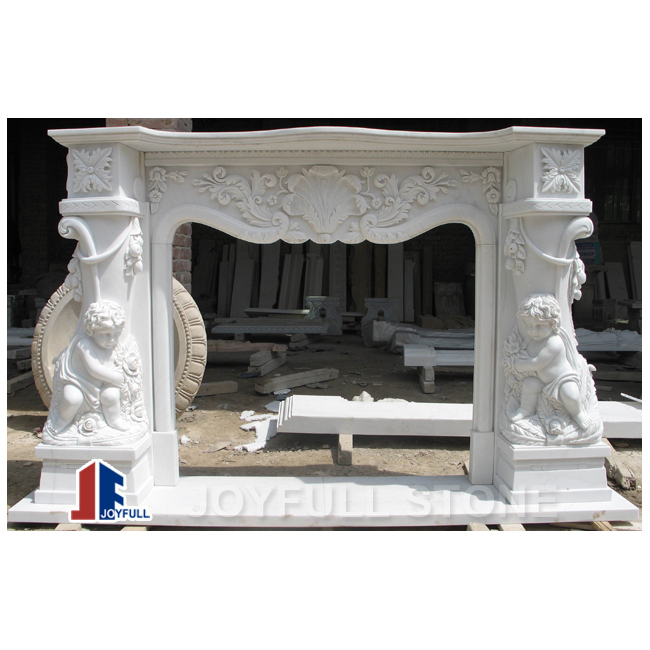 Carved White Marble Fireplaces Mantels Surrounds Cherubs Mantel Fireplace Surround Product On