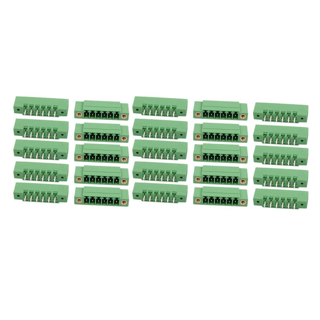 uxcell 25Pcs AC 300V 8A 3.5mm Pitch 6P Terminal Block Wire Connection for PCB Mounting