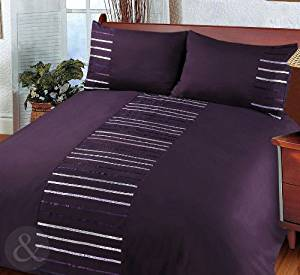 Just Contempo Modern Striped Duvet Cover Set, King, Purple by Just Contempo