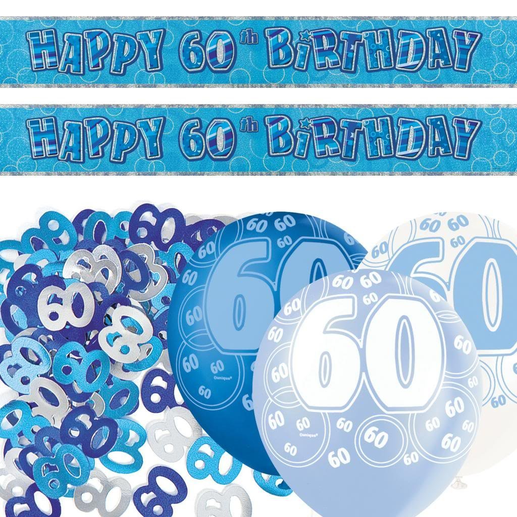 Blue Silver Sparkle 60th Birthday Banner Party Decoration Pack Kit Set