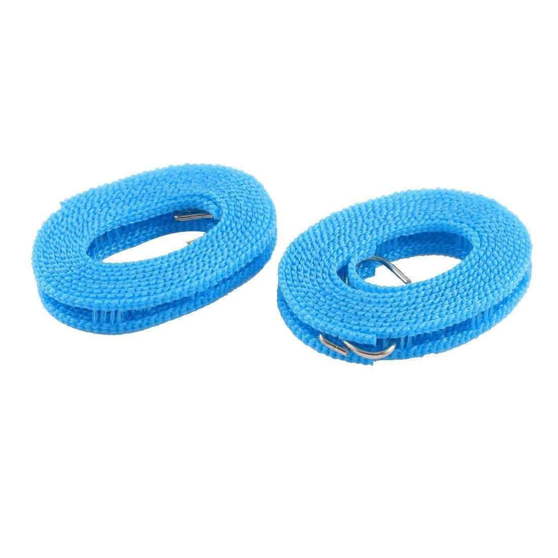 uxcell® Nylon Nonslip Windproof Dual Hooks Braided Clothesline 2M 2 Pcs Blue