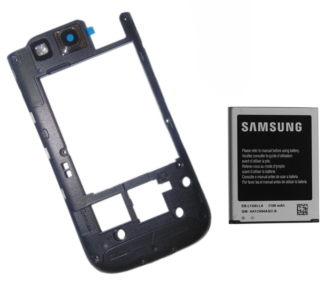 dcf55e25ce76 Get Quotations · OEM Samsung Galaxy S3 Battery 2100mAh with NFC + Black Frame  Housing Cover w  Camera
