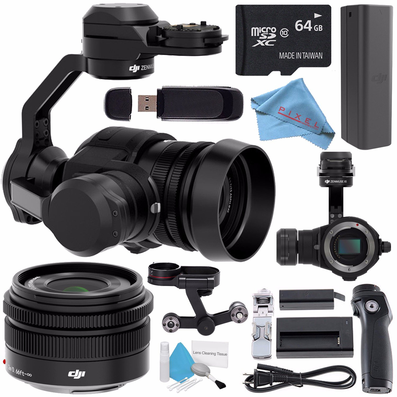 DJI Zenmuse X5 Camera and 3-Axis Gimbal with 15mm f/1.7 Lens + DJI Osmo Handle Kit + DJI Osmo X5 Adapter + 64GB microSDXC + DJI Osmo Intelligent Battery + Fibercloth Bundle