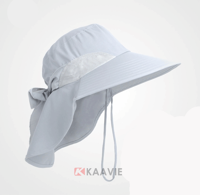 Custom summer outdoor plain color UV protection nylon vented sun hat with flap for women