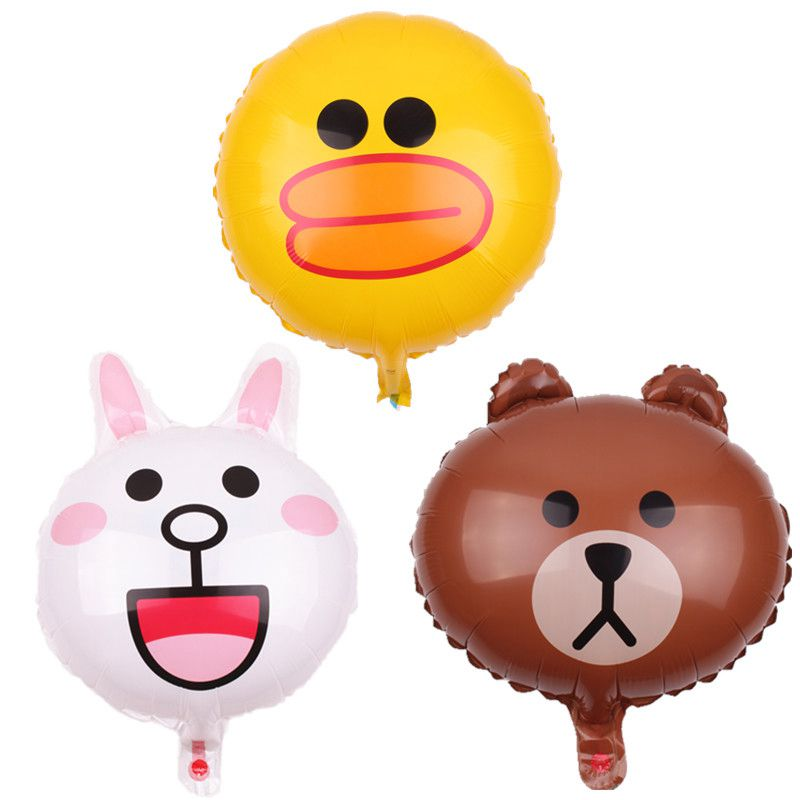 Factory various styles aluminum foil 18inch rabbit bear duck cartoon series helium hydrogen balloon for wedding decorating