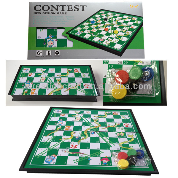 plastic board game Snakes and Ladders Board game(with/without magnet) supplier