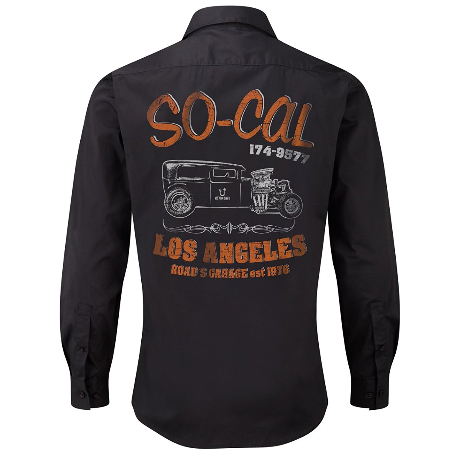 ROAD RODEO Rockabilly,Mechanic Work Shirt, Longsleeve, Rock'n'Roll, Hot Rod, V8, US Car, SoCal