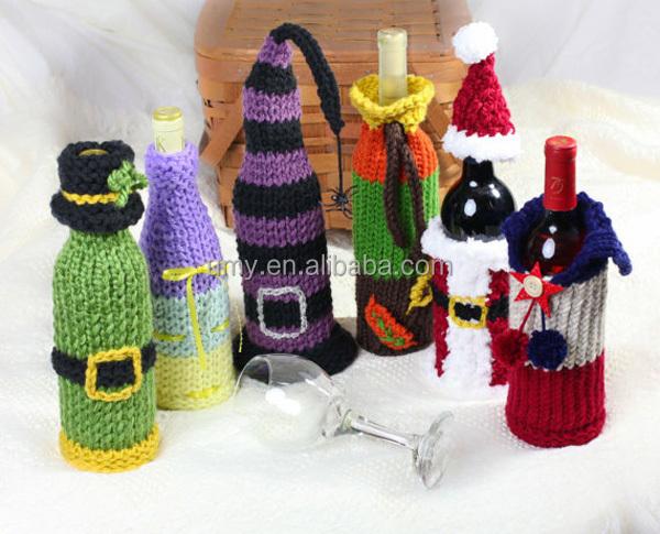 couleur tricot bouteille de vin couverture sacs tricot vin cadeau sacs accessoires sacs d. Black Bedroom Furniture Sets. Home Design Ideas