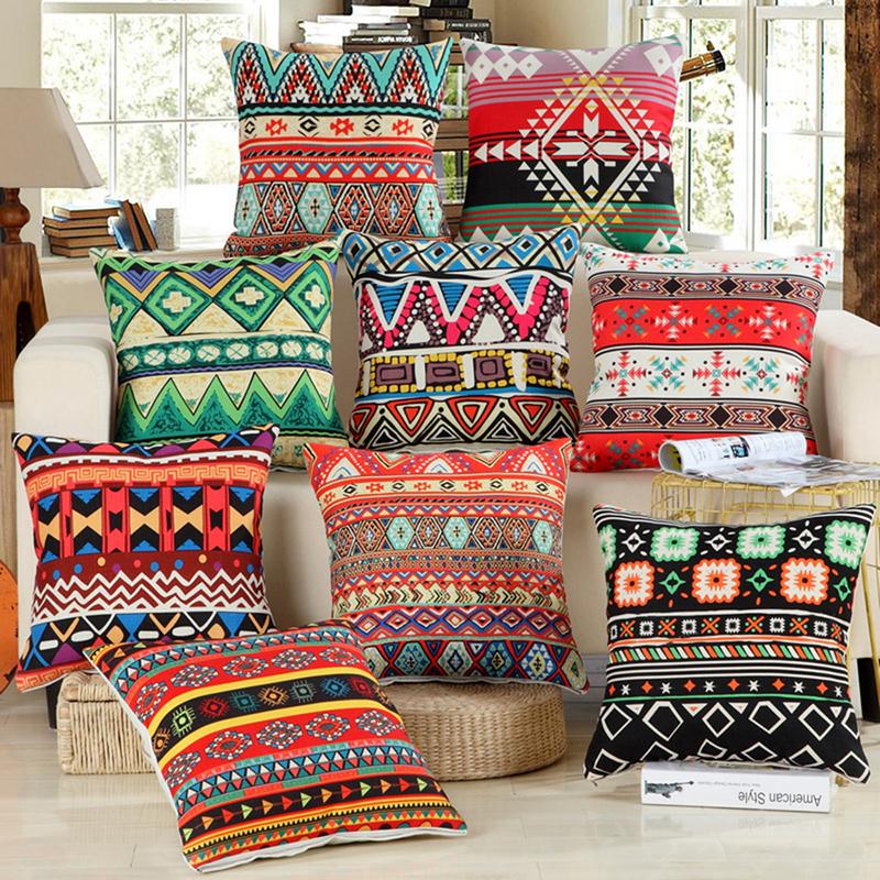 Fashion Cotton Linen Africa Geometry Bohemian Pillow Case Home Pillowcases Hidden Zip 45cmX45cm/18X18