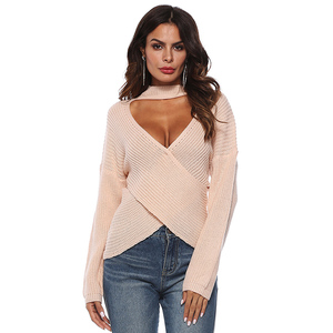 Winter Fashion Casual Pink Font Hollow Out Cross Long Sleeve Halter Woman Sweater Top