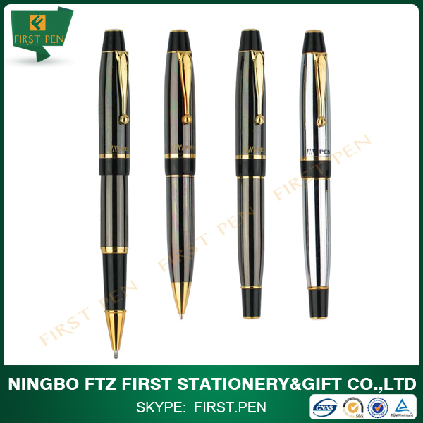 Chinese stationery golden chrome trims metal ballpoint pen