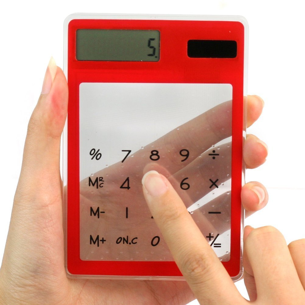 Solar Touch Screen LCD Electronic Transparent Screen Calculator (red)