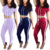 2018 new design slim fit Crop Top Long Skinny Pant women Tracksuit set