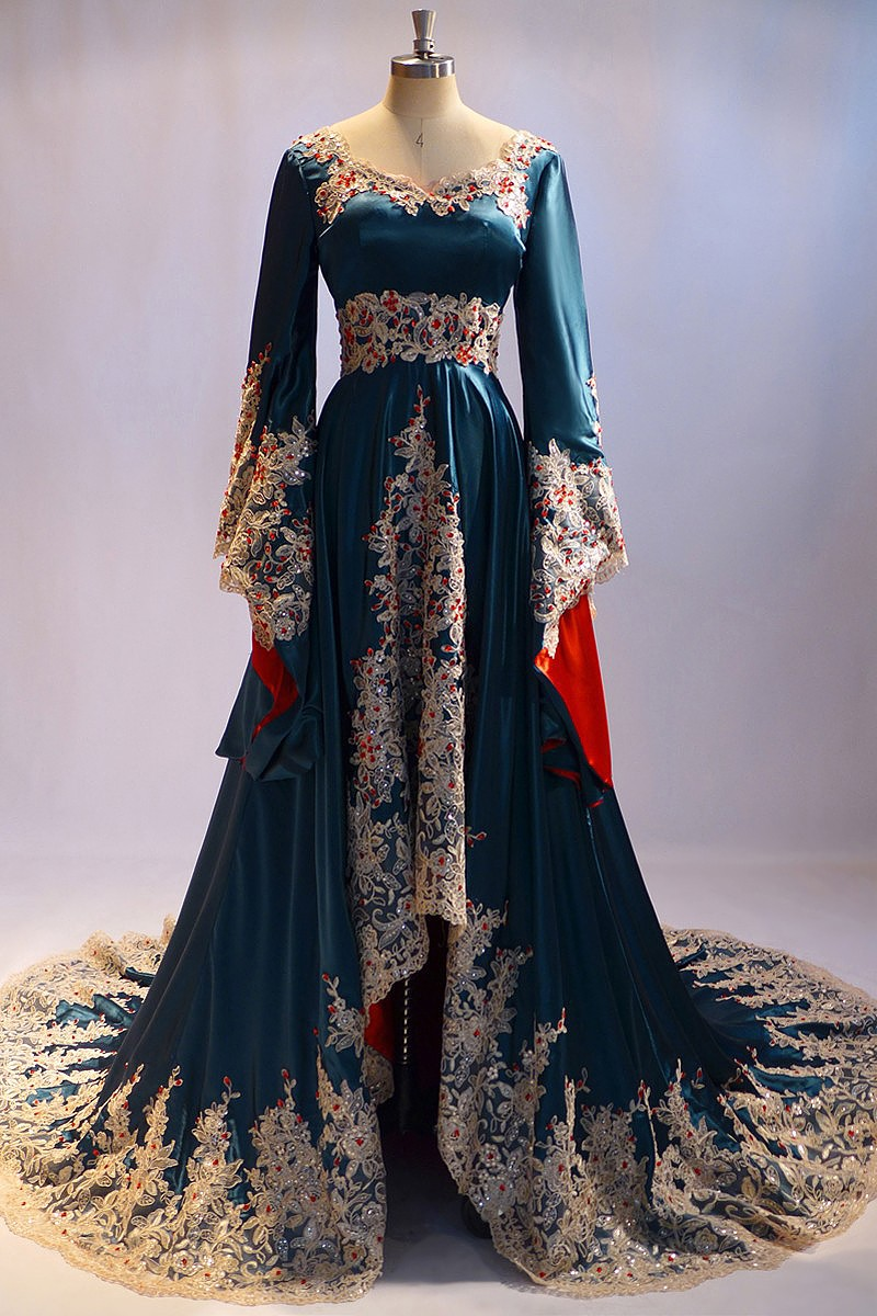 Me-05 Dubai Arabic Long Sleeve Evening Dress For Muslim ...