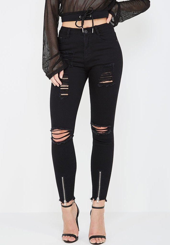 Custom Women Stepped Hem Distressed Zip Front Skinny Jeans