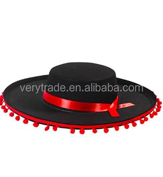 Sombrero mexicano negro y rojo Matador Toro español luchando traje sombrero 2e91407a39f