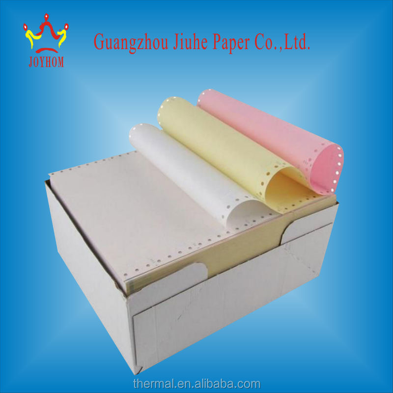 Top quality NCR paper yellow carbonless paper 120*280 from 3-ply carbonless copy paper