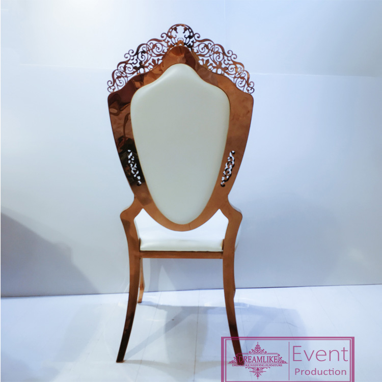Rose gold stainless steel flower hollow out dinning chairs for wedding