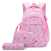 3 in 1 School Backpacks Set Girls Pink Butterfly Bookbags Backpack with Lunch Bag and Pencil Case Kids School Bag Set