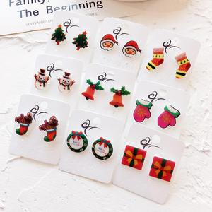 New Design Acrylic Cartoon Earrings Christmas Stud Earrings Female Cute Sweet Christmas Tree Snowflake Jewelry